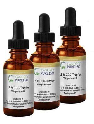 3 бутилки CandroPure150 CBD конопено масло – 15% Канабидиол пълен спектър